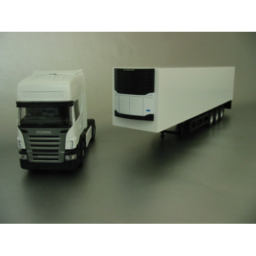 1:50 scale PYO PYO range - plain white Scania R5 Topline (4x2) & box van trailer